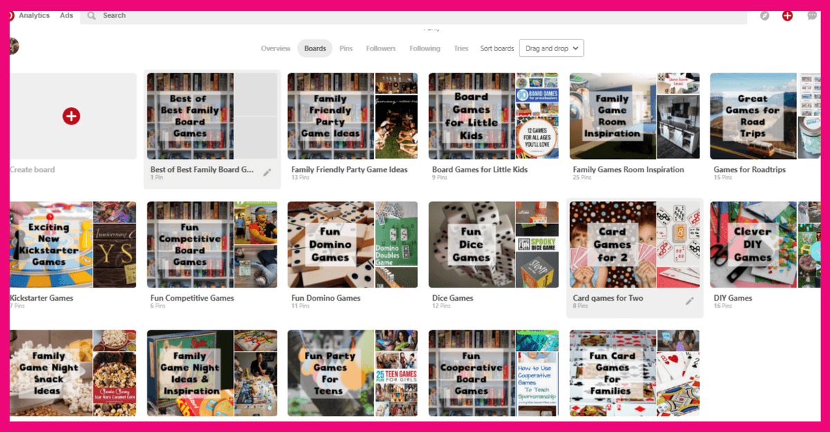 Pinterest business account setup- create boards the directly and indirectly relate to your business. Not ones that are about personal preferences and have nothing to do with your business.